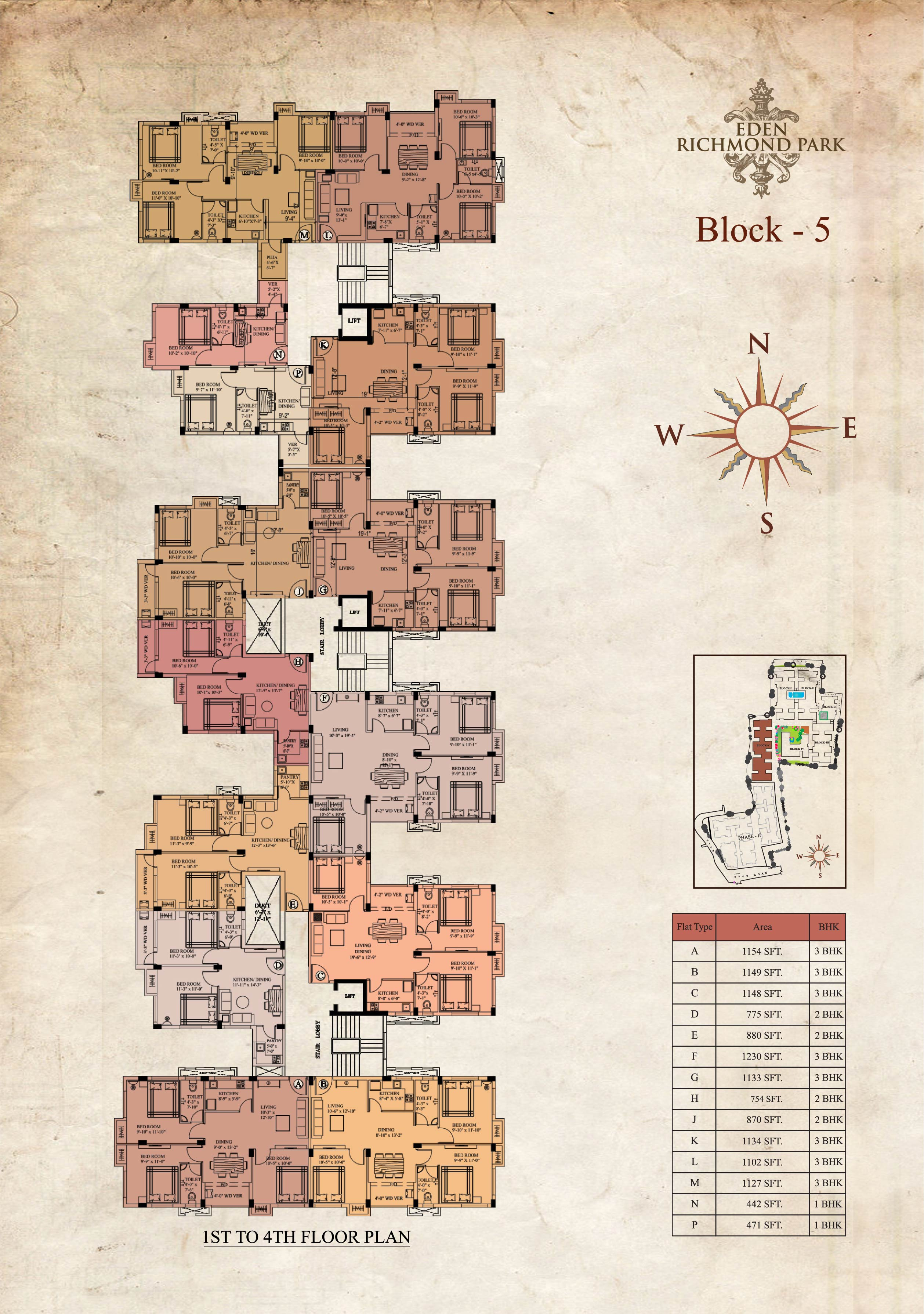 Eden Richmond Park - Block 5 1st-4th Floor Plan